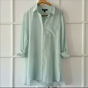 Banana Republic 100% Silk Button Down Tunic Blouse